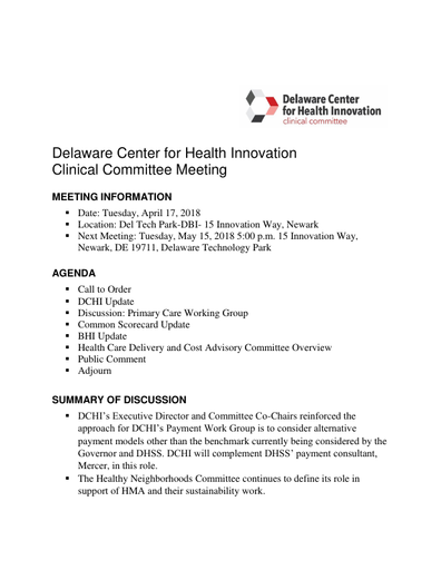 Delaware Center for Health Innovation Clinical Committee Meeting Summary