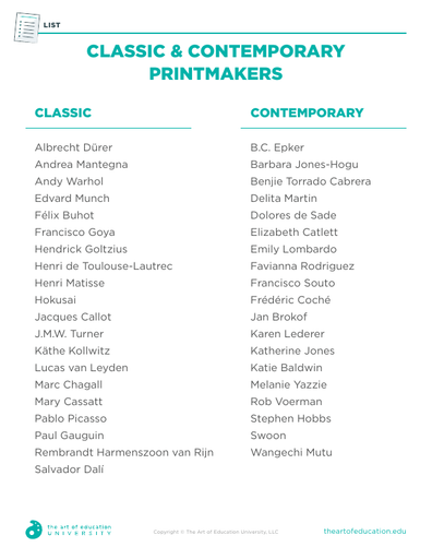 Classic & Contemporary Printmakers - FLEX Resource