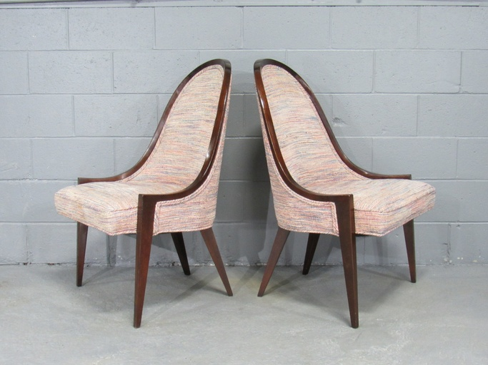 Mid-Century Modern Gondola Slipper Chairs (Model 1053) in Mahogany by Harvey Probber