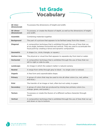 1st Grade Vocabulary - FLEX Assessment