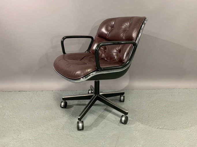 Set of 4 Executive Chairs by Charles Pollock for Knoll International in Cordovan Leather