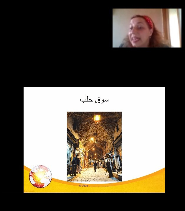 Ustaadha Aya shows an image of the Aleppo Souq in Yerevan, Armenia.