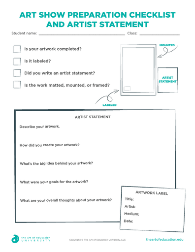 Art Show Preparation Checklist and Artist Statement - FLEX Assessment