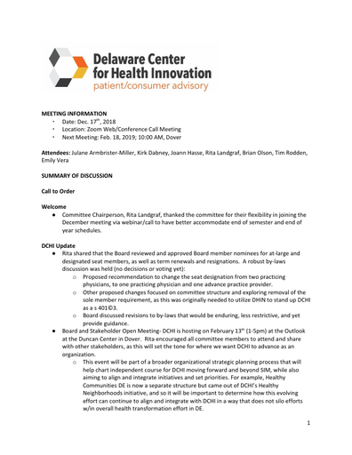 Delaware Center for Health Innovation Patient and Consumer Advisory Committee Meeting Summary