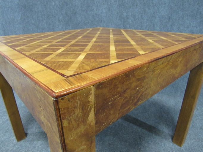 Art Deco Walnut Burl Wood and Birch Occasional / Game Table