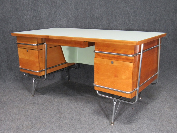 1950s Mid-Century Maple and Chrome Timeline Desk by Kem Weber for Heywood Wakefield