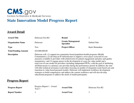 Center for Medicare and Medicaid Services- State Innovation Model Quarter 1 Progress Report 2017