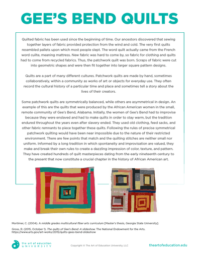Gees Bend Quilts - FLEX Assessment