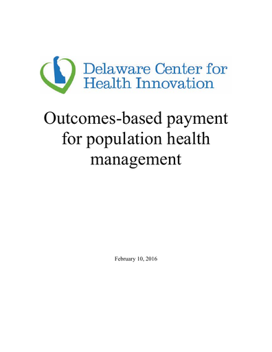 Outcomes-based Payment for Population Health Management