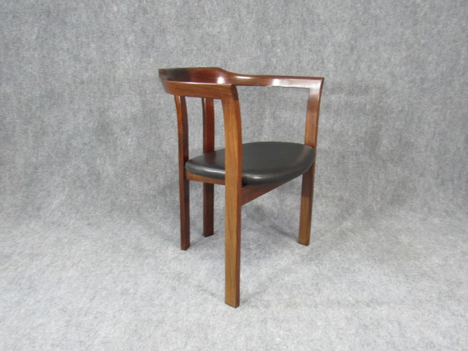 Mid-Century Modern Solid Rosewood Armchair Chair.  Circa 1980s.