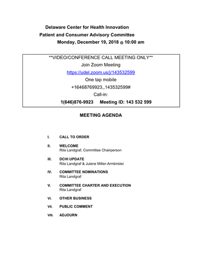 Delaware Center for Health Innovation Patient and Consumer Advisory Committee Agenda