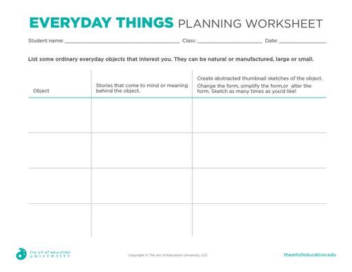 Everyday Things Planning Worksheet - FLEX Resource