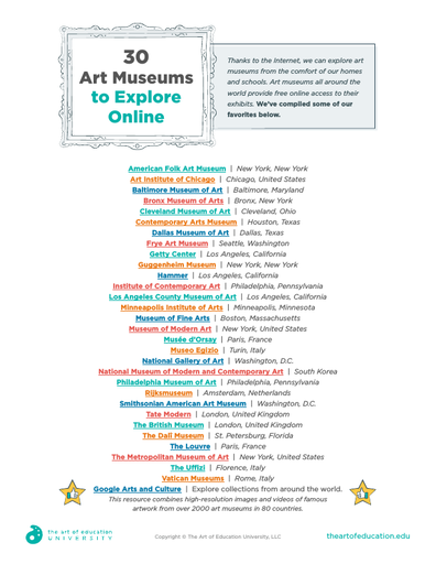 30 Art Museums to Explore Online - FLEX Assessment