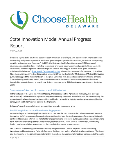 State Innovation Model Annual Progress Report 2016