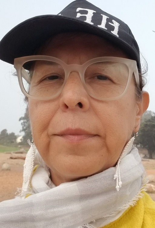 I am a light brown skinned womxn with brown hair, wearing a black cap with the word HEAL in white letters and  a grey scarf and yellow sweater and in the background is an open field with trees.