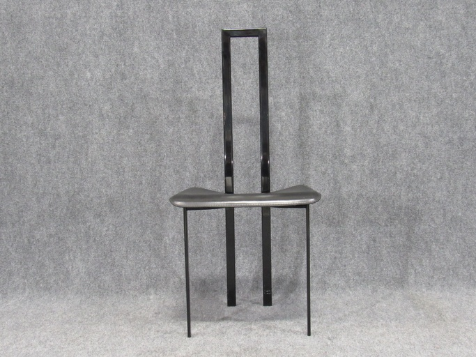 Set of Six Post-Modern Black Metal Dining Chairs by Maurizio Cattelan for Cattelan Italia