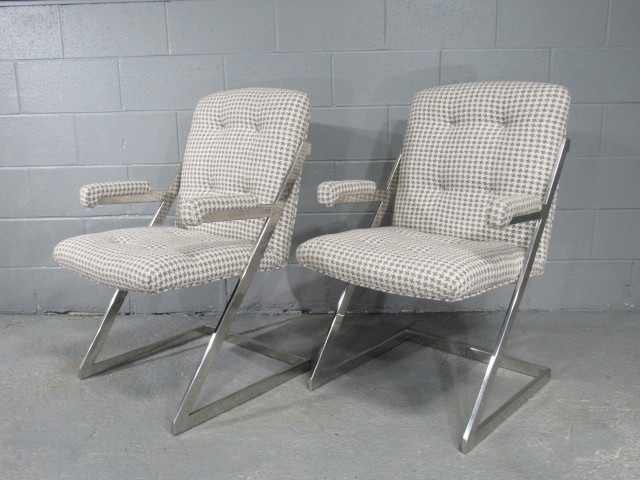 Pair of Mid-Century Modern Milo Baughman for Design Institute of America Z-Bar Cantilever Chrome Arm Chairs