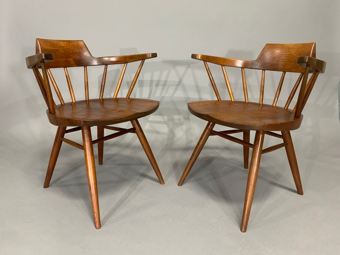 George Nakashima Pair of Captain's Armchairs