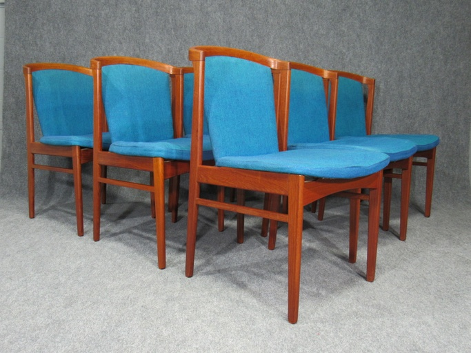 Set of Six (6) Rare Mid-Century, Danish Modern Teak Dining Chairs by Erik Buck for Chr. Christiansen.  Circa 1960s.