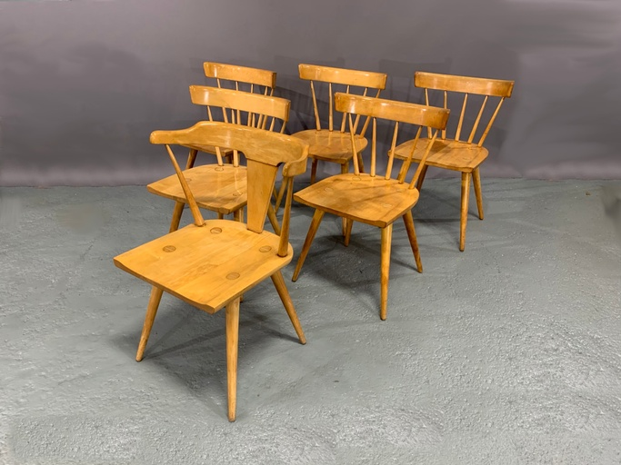 Set of Six Maple Dining Chairs by Paul McCobb for Planner Group Collection, Winchendon Furniture Co.