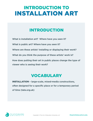 Introduction to Installation Art - FLEX Assessment