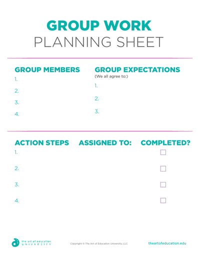 Group Work Planning Sheet - FLEX Resource