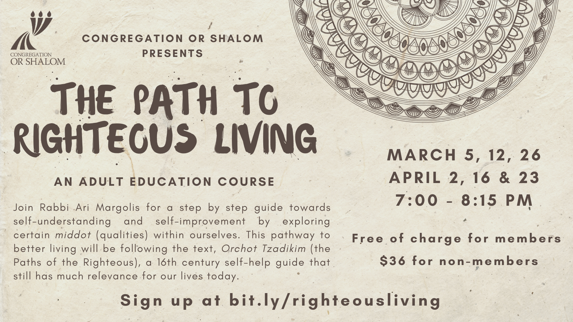 Banner Image for Adult Learning Class with Rabbi Ari: The Path to Righteous Living