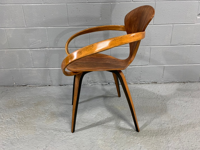 "Norman Cherner Iconic Mid-Century Modern ""Pretzel"" armchair for Plycraft Co., designed in 1958"