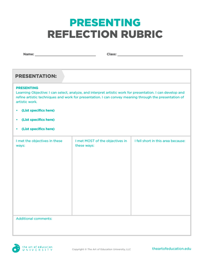Presenting Reflection Rubric - FLEX Assessment