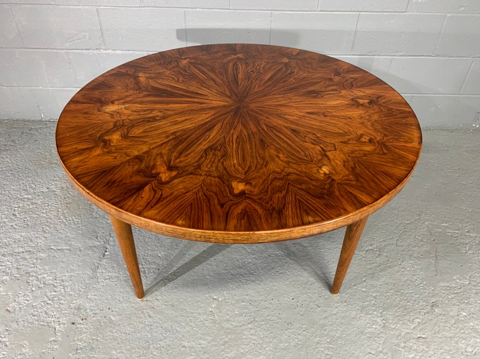 Extraordinary Dramatic Figured Grain Rosewood Round Coffee Table by Edvard Valentinsen