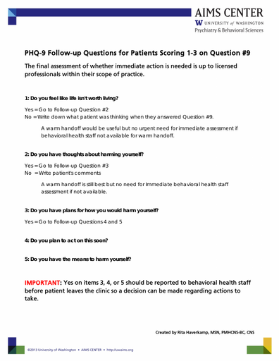 PHQ-9 Follow-up Questions for Patients Scoring 1-3 on Question #9