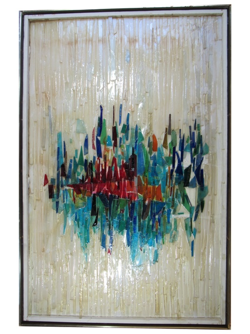 Mid-Century Modern Glass Wall Sculpture by Hayes Kelley