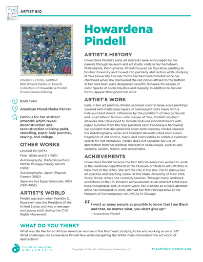 Howardena Pindell - FLEX Assessment