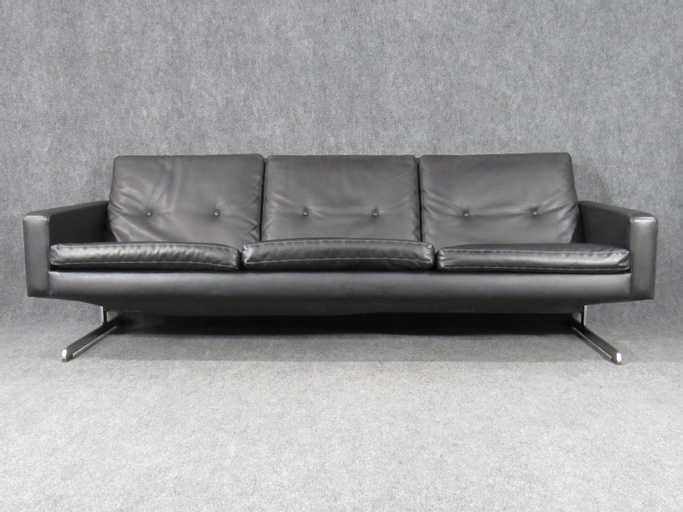 Midcentury Danish Modern Sofa in Faux Black Leather Attributed to Georg Thams