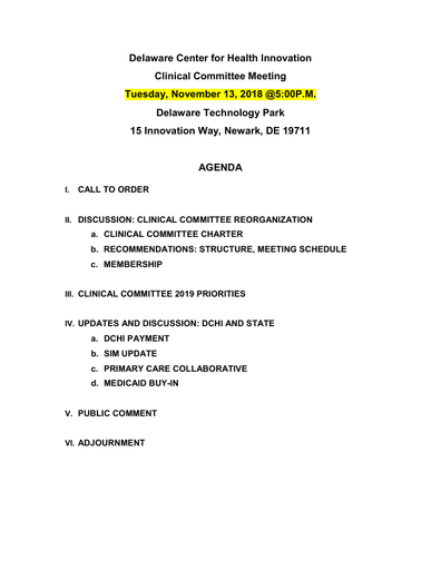 Delaware Center for Health Innovation Clinical Committee Meeting Agenda