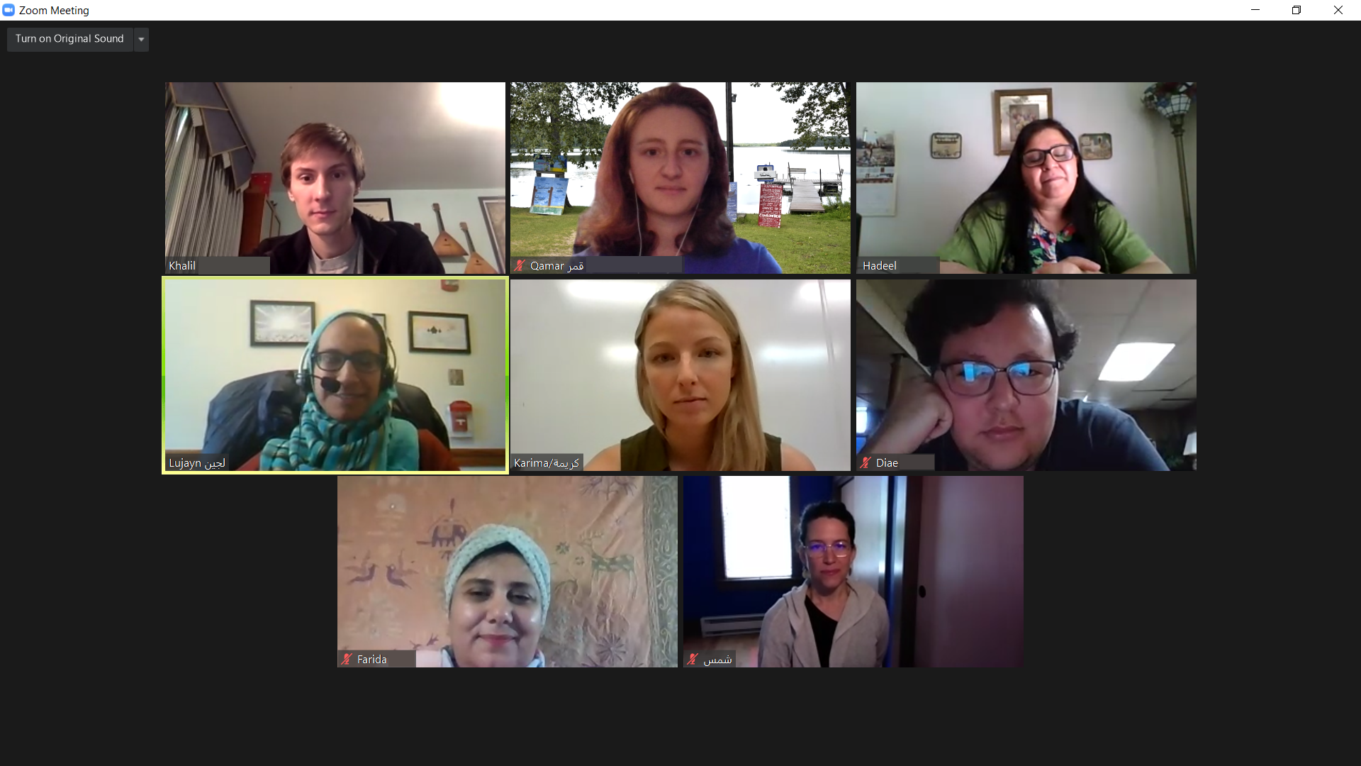 A screenshot of some of the counselors of Virtual Al-Waha from the summer.