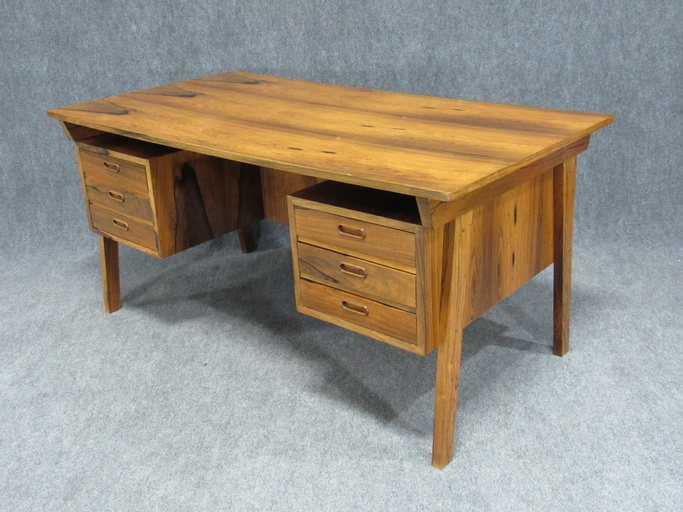 Midcentury Danish Modern Desk Crafted in Dramatically Figured Rosewood