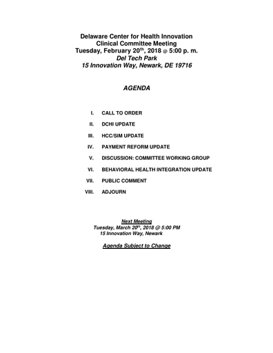 Delaware Center for Health Innovation Board of Directors Meeting Agenda