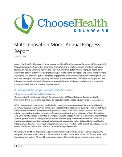 State Innovation Model Annual Progress Report 2017