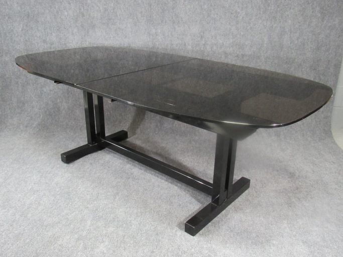 Mid-Century / Post-Modern Glass and Black Painted Metal Dining Extension Table.  Circa 1980s.