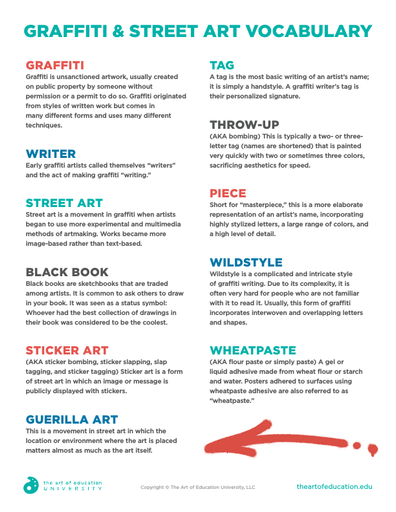 Graffiti & Street Art Vocabulary - FLEX Resource