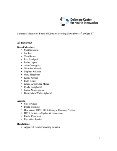 Delaware Center for Health Innovation Board of Directors Meeting Summary