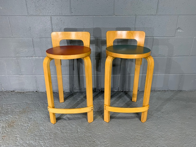 Pair of Finnish Mid-Century Modern Alvar Aalto Bar Stools / High Chair for Artek, Model K65
