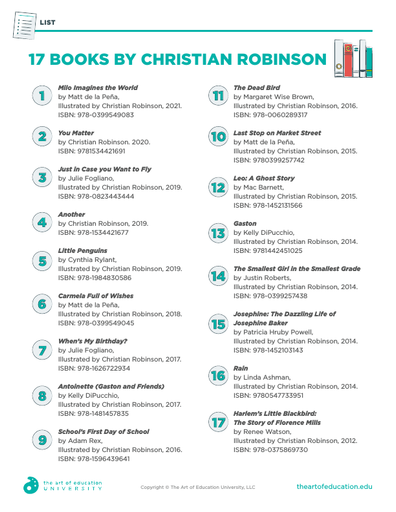 17 Books by Christian Robinson - FLEX Assessment