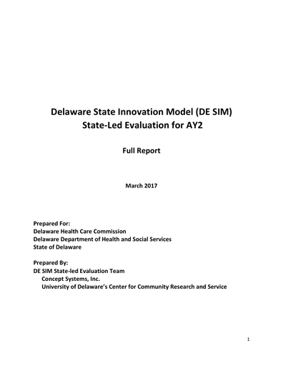 Delaware State Innovation Model State-Led Evaluation for AY2