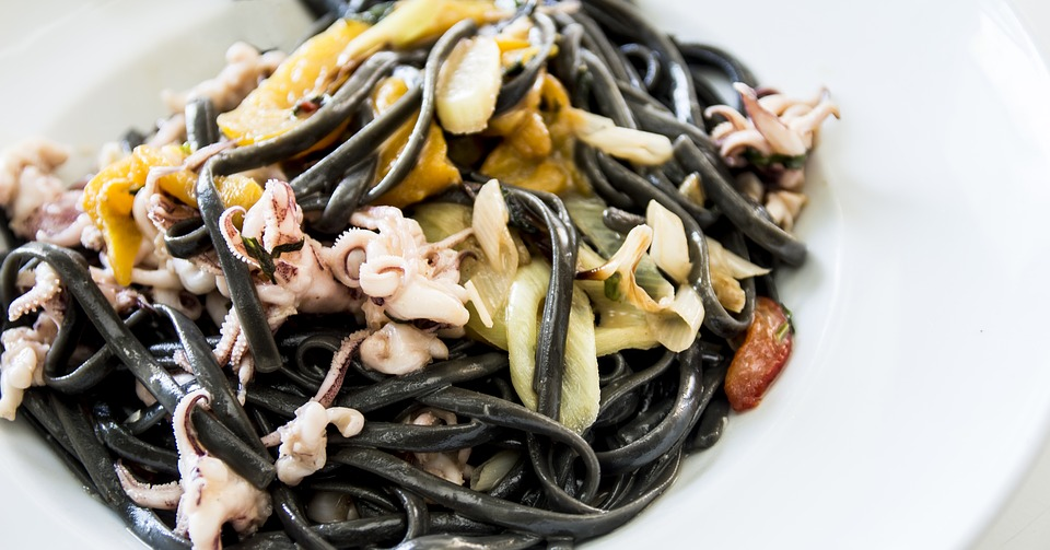 Black tagliatelli with seafood ragu