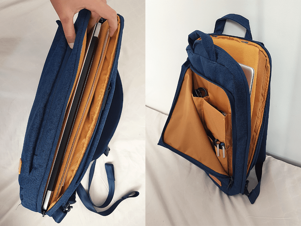 pockets and pouches inside off toco BM-OF03NV smart PC backpack laptop bag