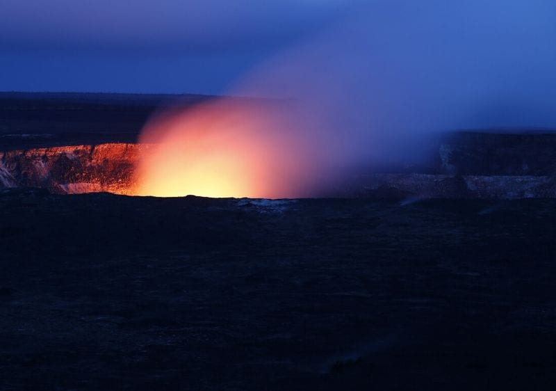 light emitting from a volcano