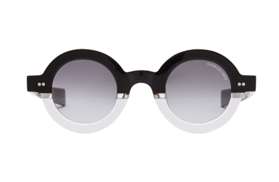 Lunettes de soleil 1930's - Floating Monochrome, Oliver Goldsmith, Ronde , de couleur Blanc Transparent.