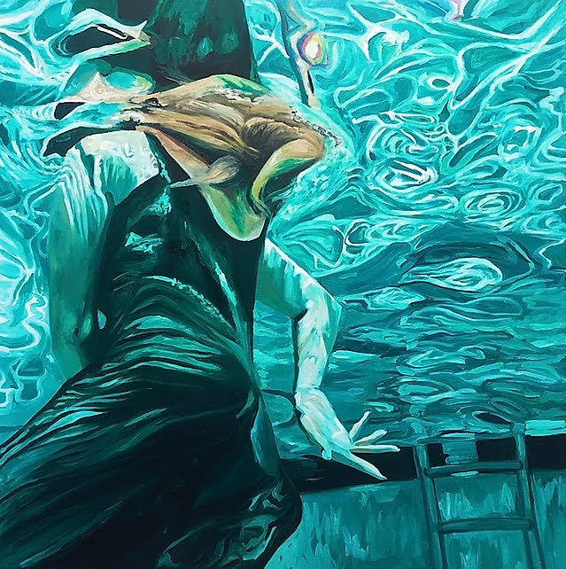 Painting in teal, white, and light brown of clothed swimmer underwater in a pool